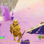 Fortnite_フォートナイト ウィーク15クエスト(チャレンジ)攻略  延べ棒を消費する 砂の中での移動距離 キャラクターから情報を得る キャラクターを雇う 砂に潜って20メートル以内で5秒間留ま